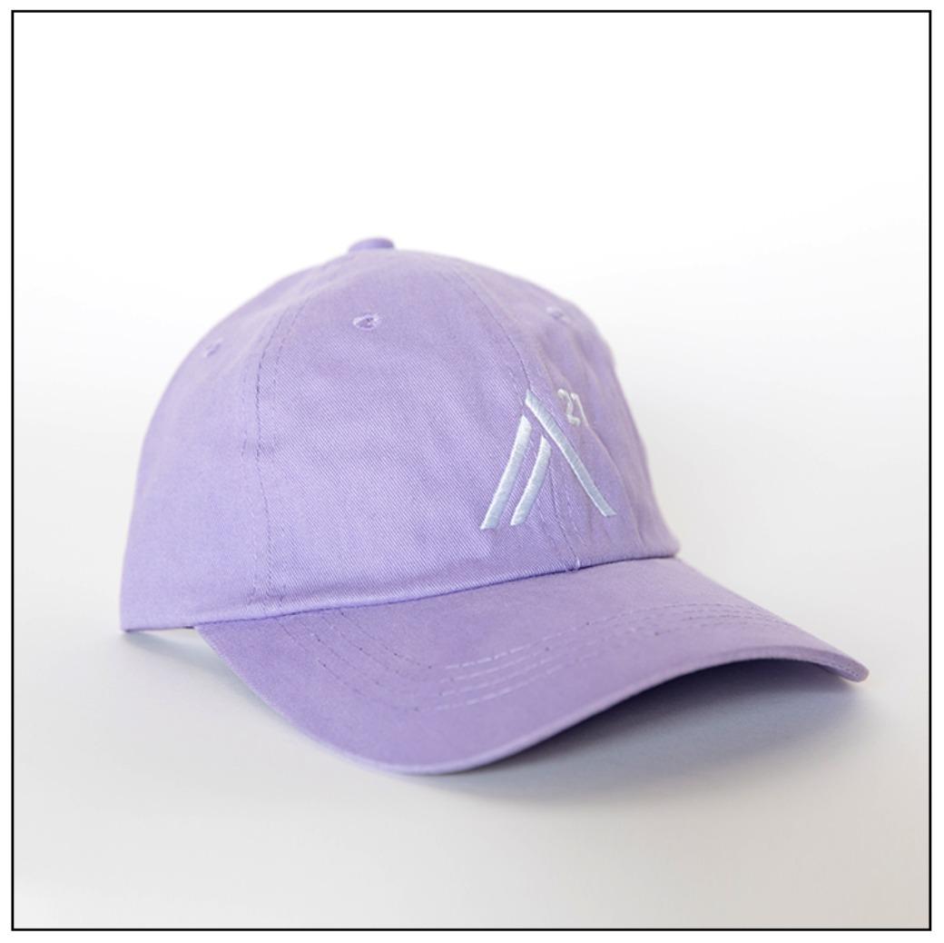 Lavender Ball Cap: white embroidered stitch
