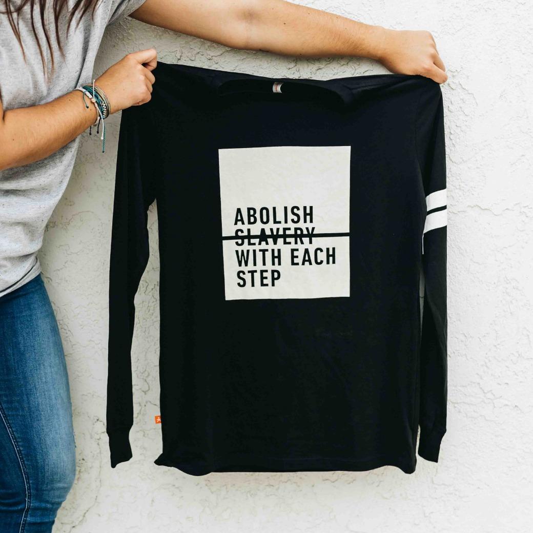 "Walk For Freedom: ""Abolish Slavery With Each Step"" Long Sleeve T-Shirt"