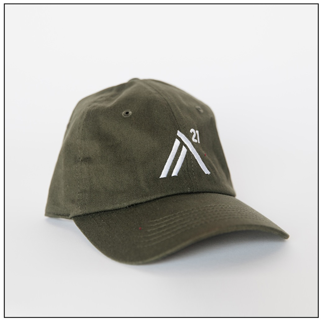 Olive Green Ball Cap: white embroidered stitch