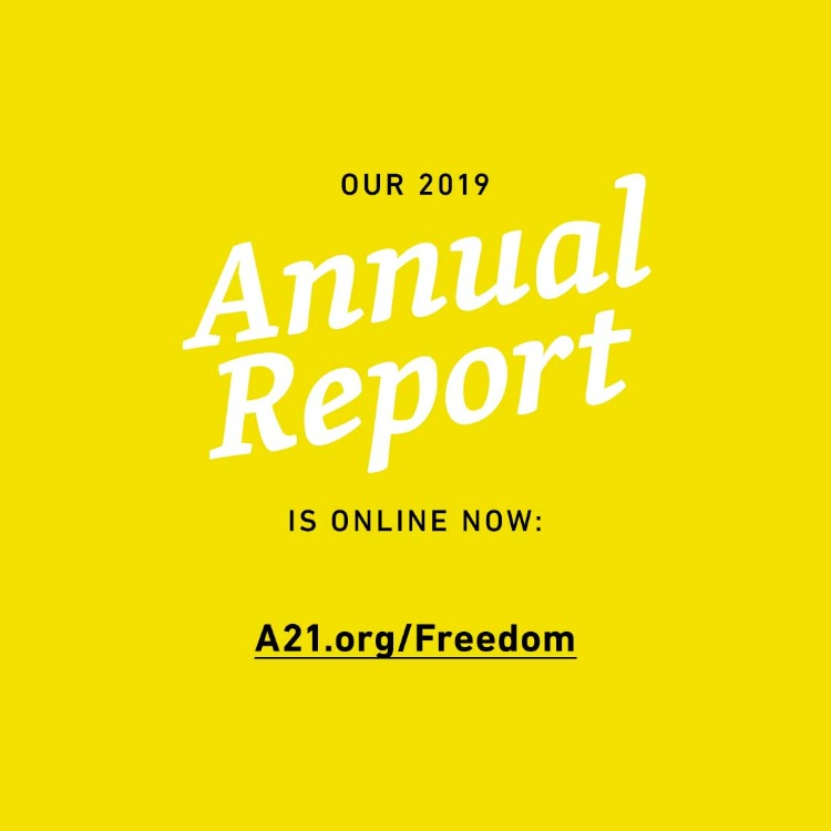 Freedom Report Social Media Image 05: Our 2019 Annual Report is online now: A21.org/freedom