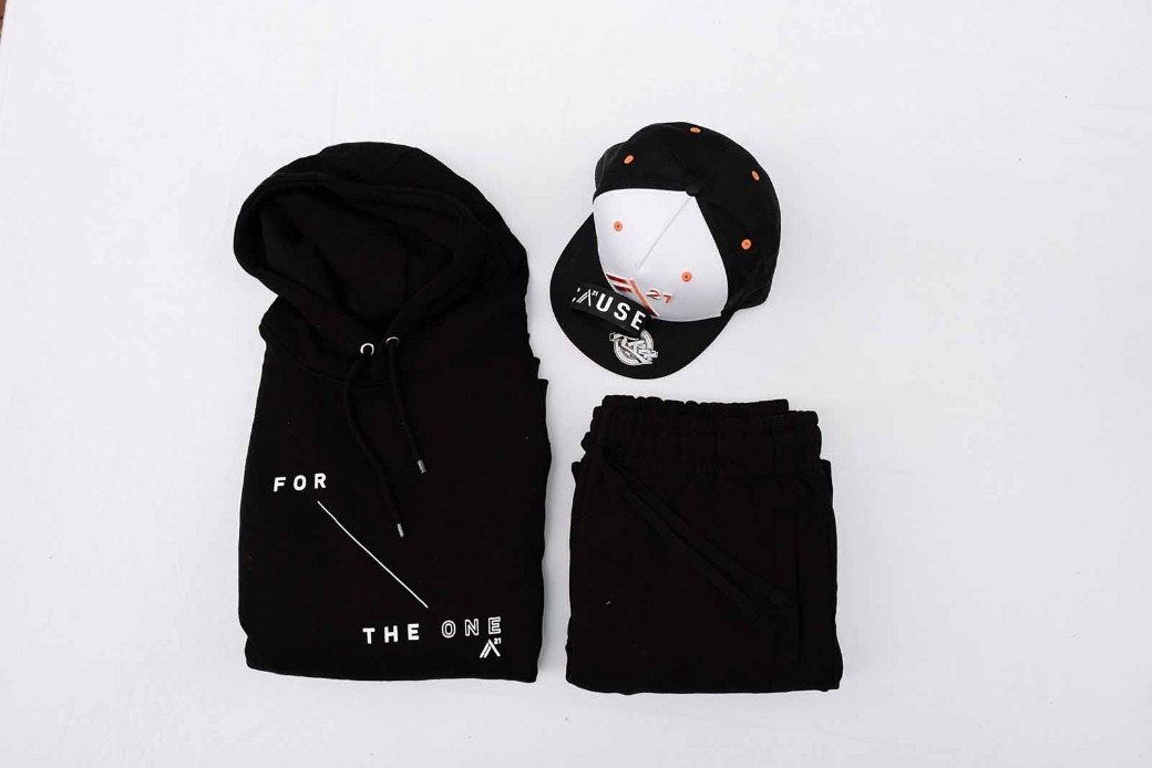 For The One - Sweatsuit: Black & White, Trucker Hat, Because Band