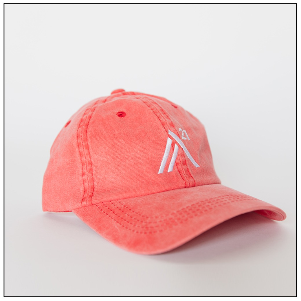 Peach Ball Cap: white embroidered stitch