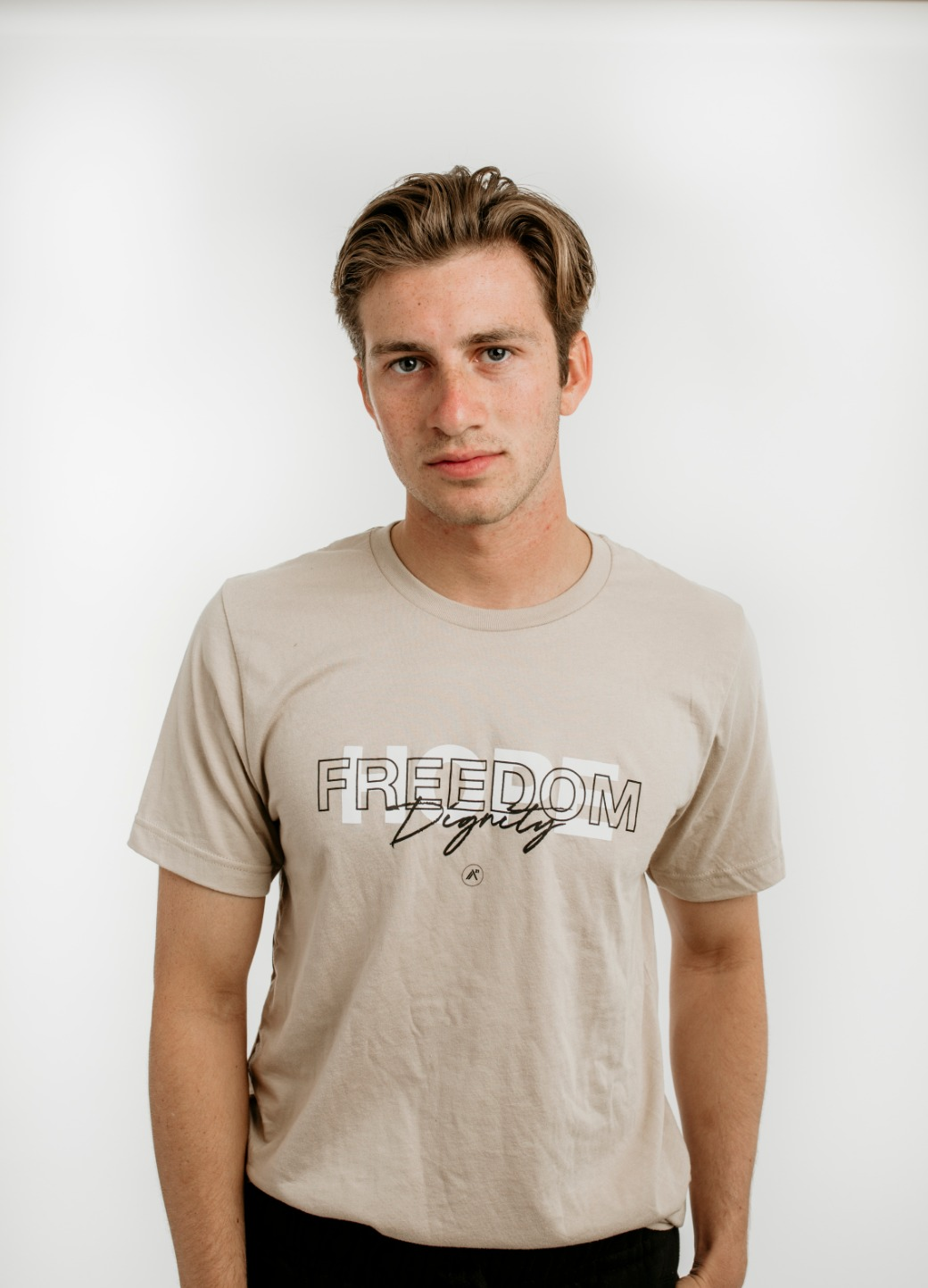 Neutral Tan: Hope, Dignity, Freedom T-Shirt 3