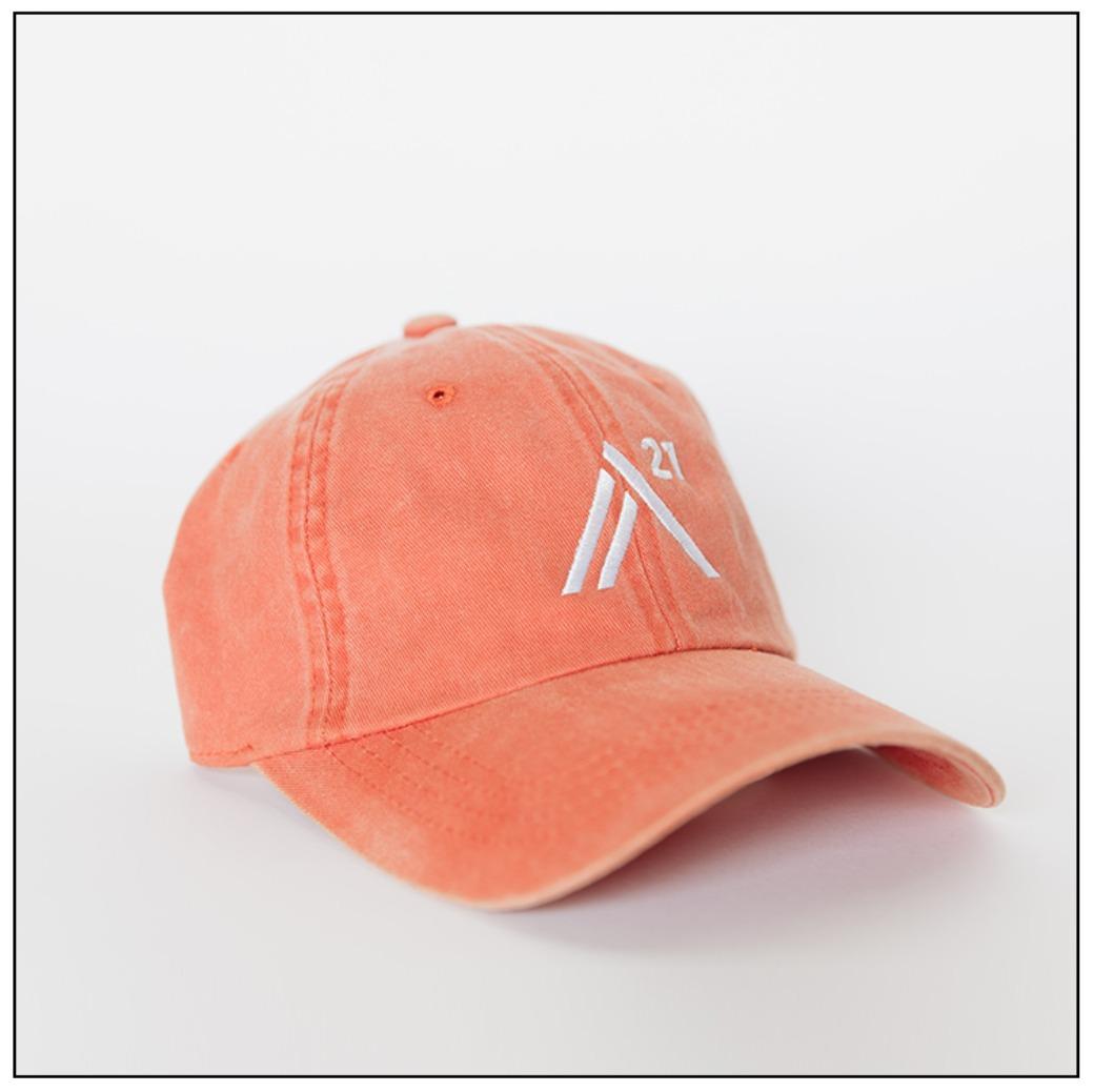 Orange Ball Cap: white embroidered stitch