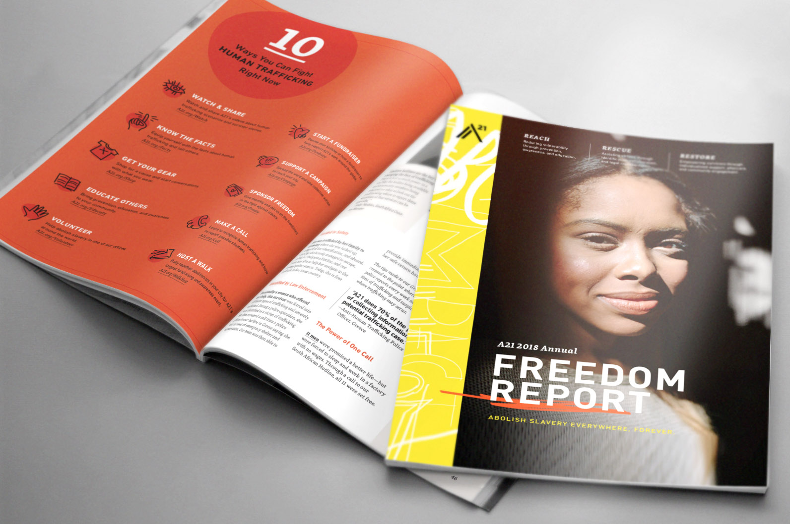 Freedom Report 2018: Showing front cover + 2 open pages: 10 ways you can fight human trafficking, the power of one hotline call.