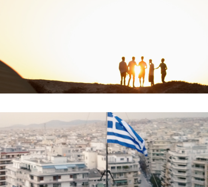 2 Photos: 1 of ben standing on a cliff during sunset; 2 aerial view of greece with view of greek flag