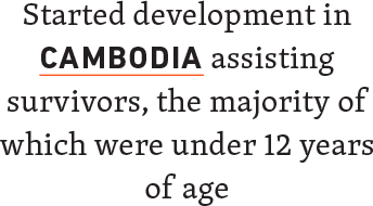Started developments in Cambodia assisting survivors, the majority of which were under 12 years of age