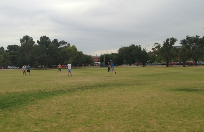 The cricket pitch.