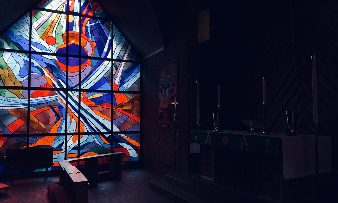 God is Faithful: Photo of Stained Glass in church