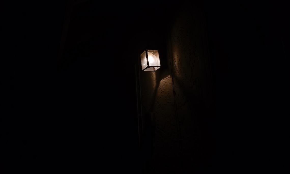 Lamppost around dark surroundings photo