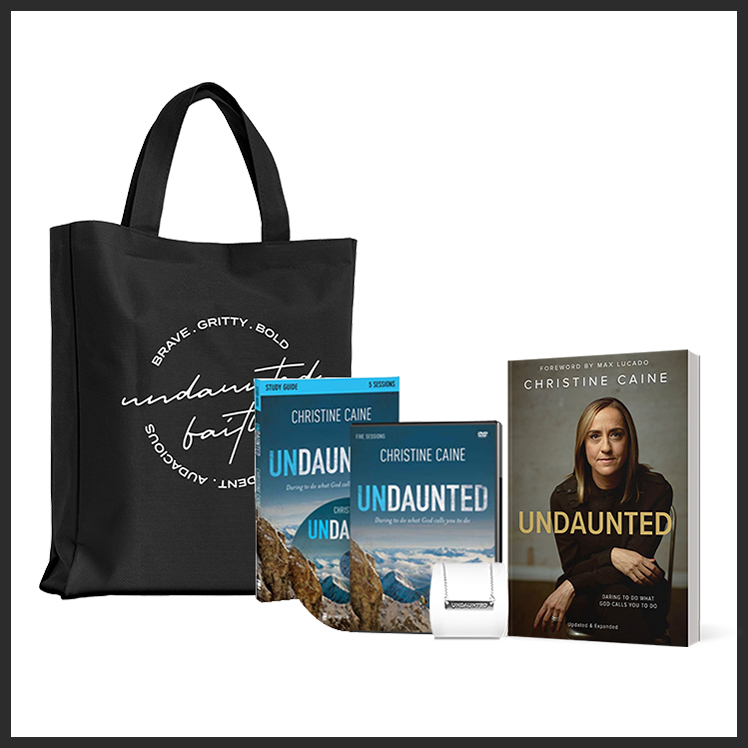 Undaunted Bundle: Totebag, Undaunted Book, Study Guide, DVD, Undaunted Necklace, Christine Caine Products