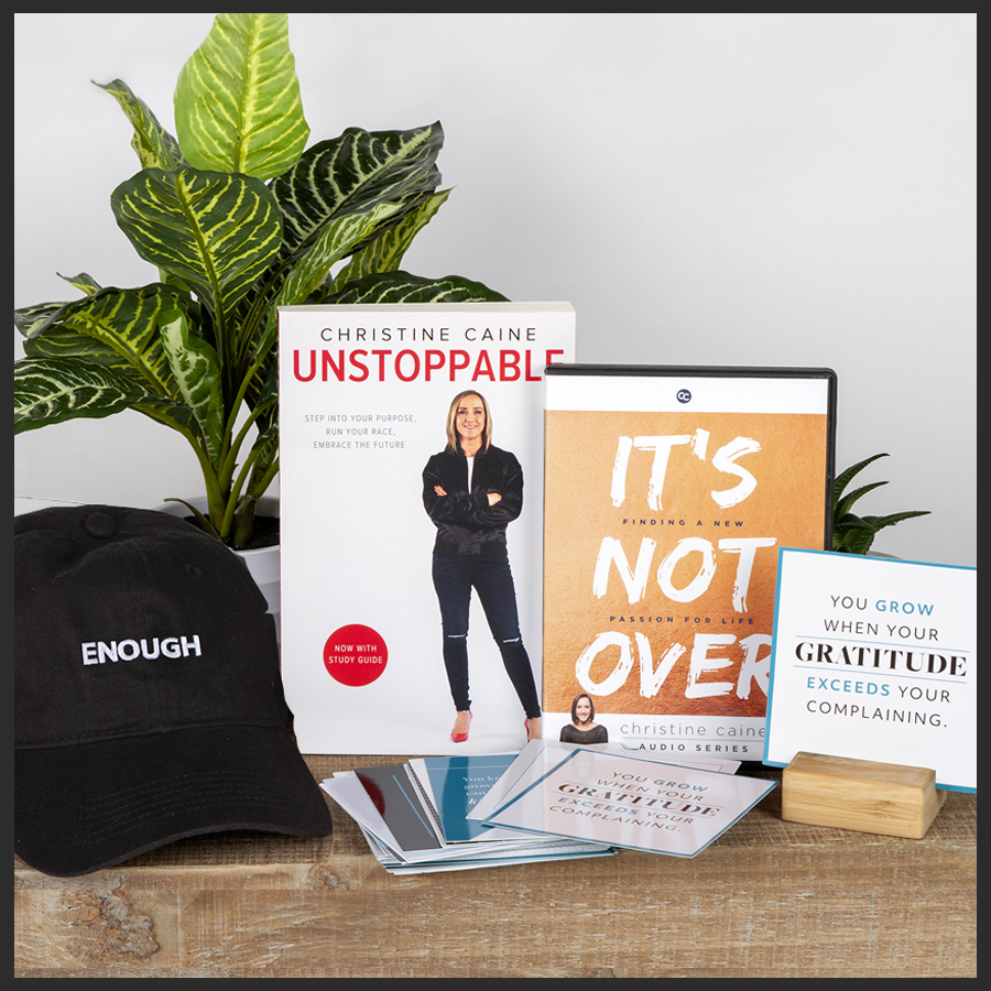 Unstoppable Book with Study Guide, Enough hat, Spiritual Growth Spurts Card Set, Free bonus: It's Not Over DVD